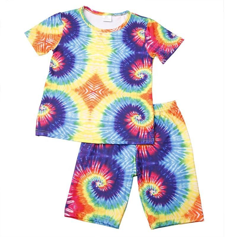 2020 Summer Colorful Tie Dye Baby Toddlers Girls Clothes Top Shorts Boys Little Girls Clothing Sets Fashion Kid Outfit