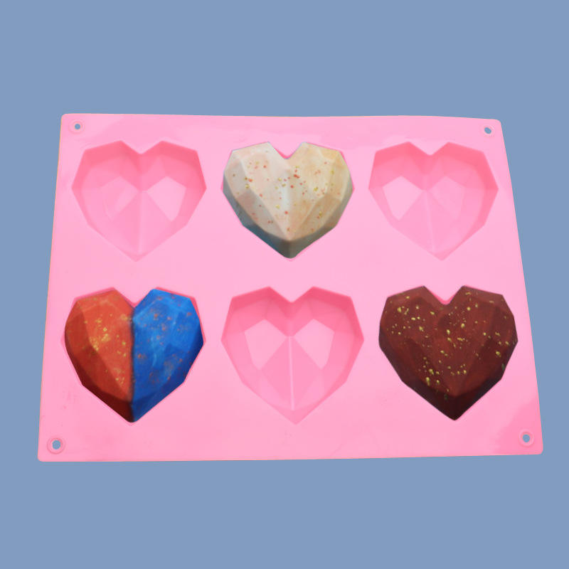 6 even diamond love silica gel turning sugar mold diy soap pudding jelly cake decoration mold