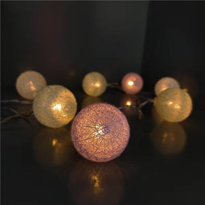 Multicolor holiday home decoration accessories customized length cotton ball string light