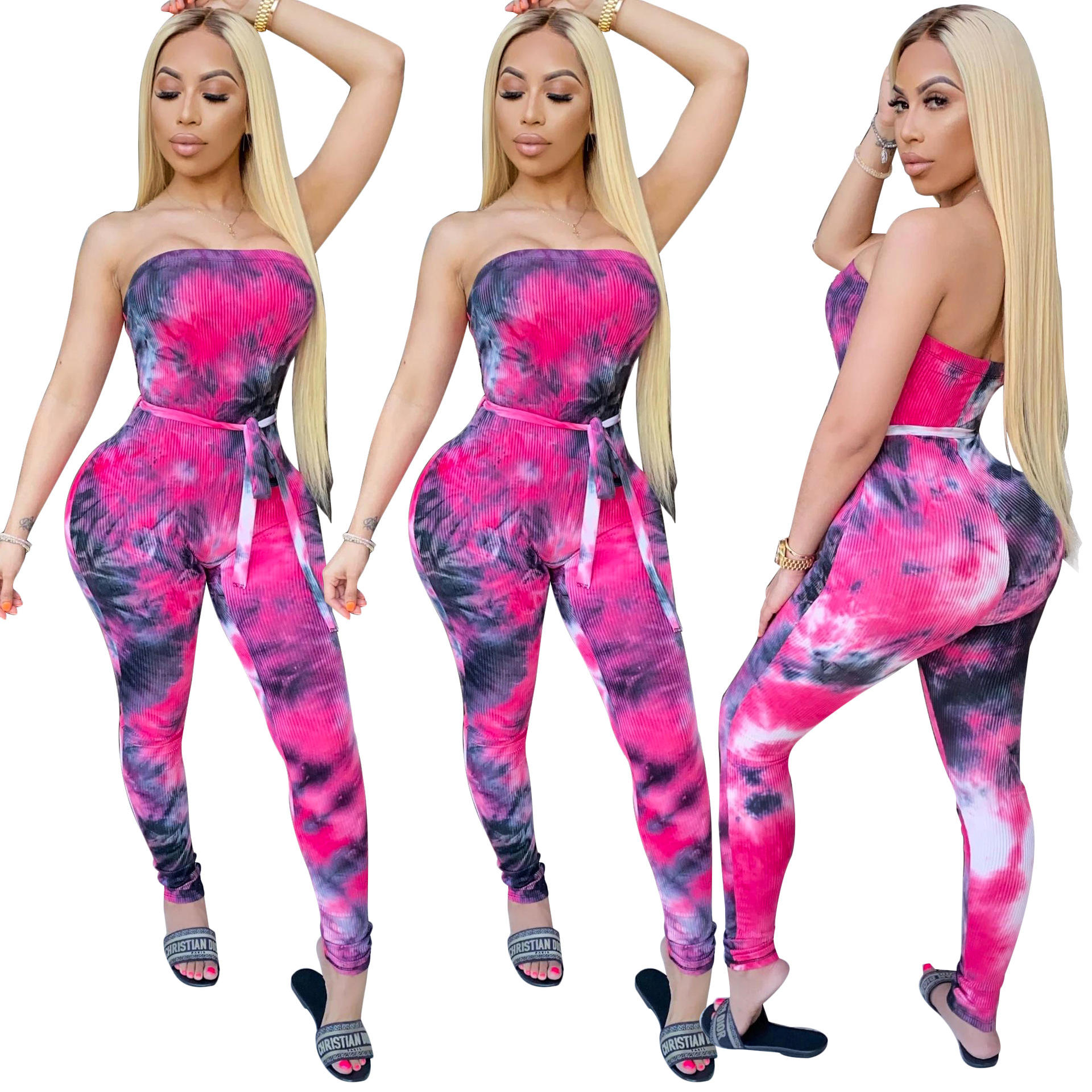 Elegante Strapless Rose Madder Lange Broek Jumpsuit Streetwear Backless Bodycon Riem Tie Geverfd Womens Een Stuk Jumpsuit