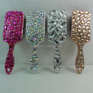 Luxurious crystal hair brush high grade electroplate hair comb