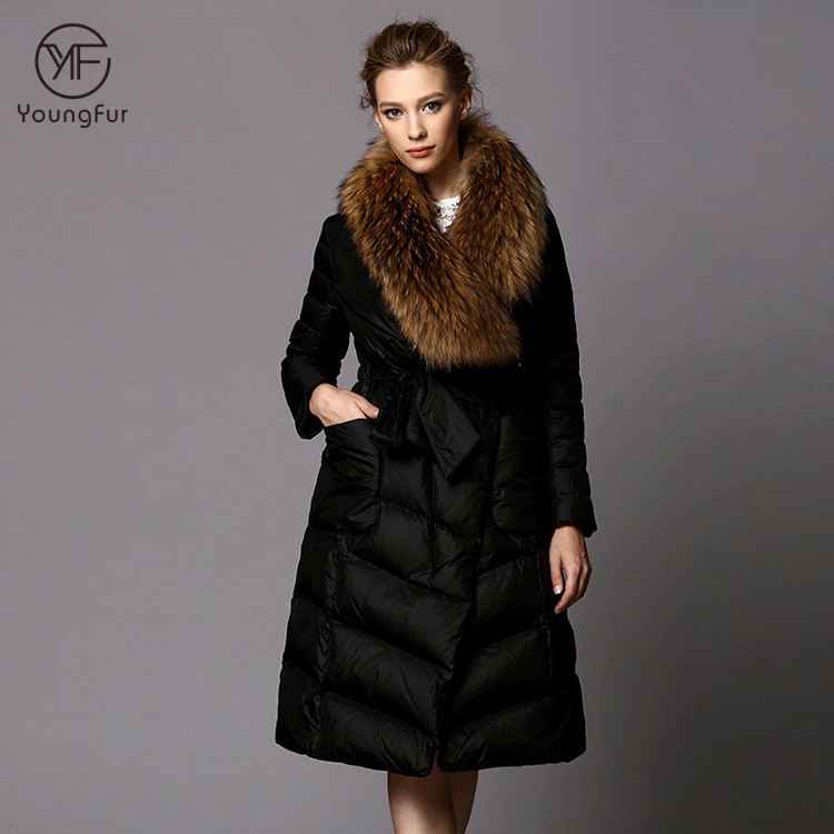Korean Fashion Oversized Clothing Women Padded Long Black Duck Down Jacket With Fox Fur Collar