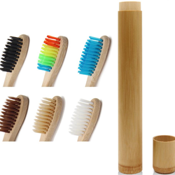 Bamboo Toothbrush Stand Holder Set With Bamboo Case