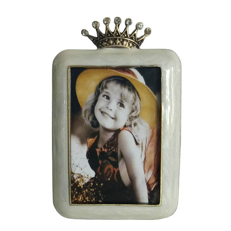Ivory Enameled Metal Jeweled Photo Frame In Antique Gold Finish