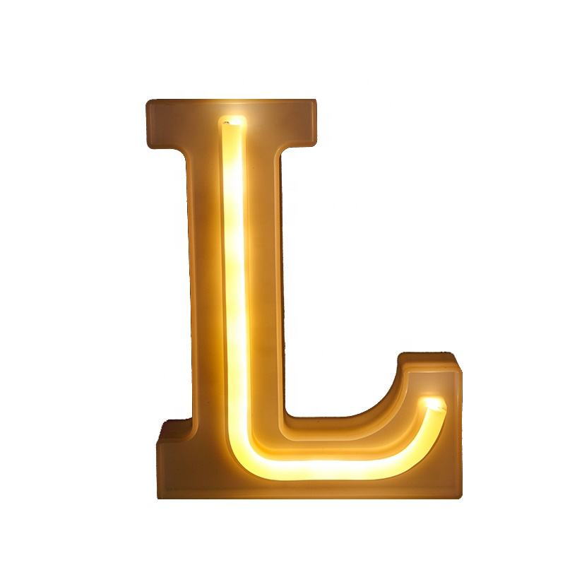 Custom High Quality Factory Directly Sale USB Rechargeable Alphabet Table LED Letter Neon Light