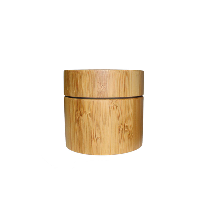 Dual wall bamboo packaging empty cosmetic cream plastic container 15g 30g 50g 100g wood lid plastic jar bamboo lid cosmetic jar