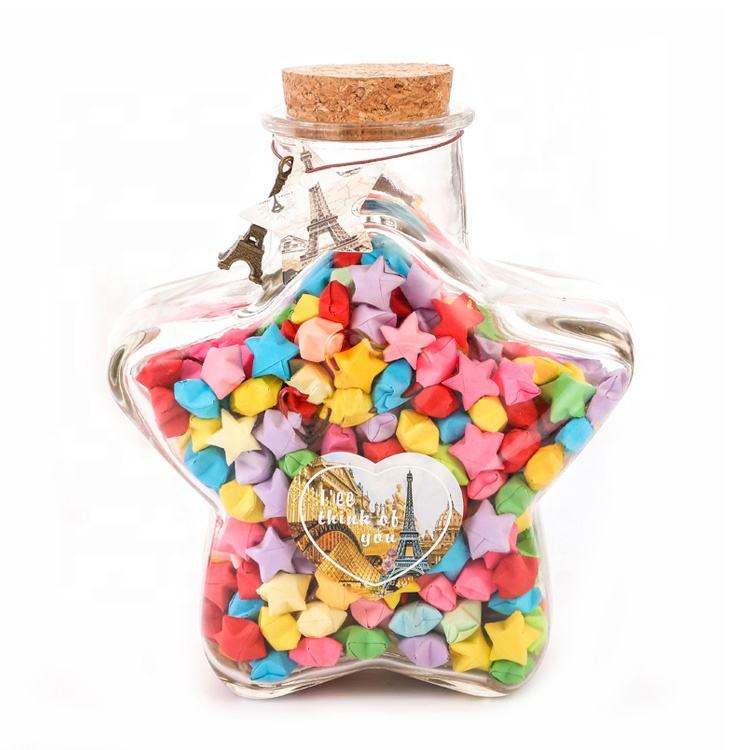 hot sell 50ml 70ml 150ml star shaped glass wishing jar with cork