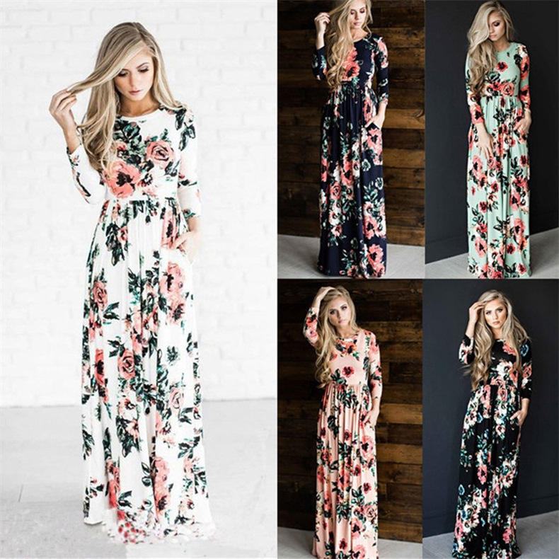 Wholesale fashion long sleeve women beach dress colorful stock Floral Long Maxi Women Dress