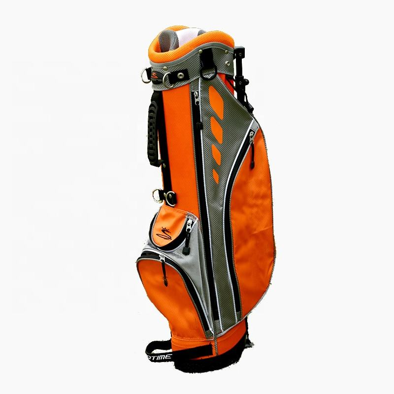 Custom Orange and Grey Color Junior Golf Bag With Stand 30Inch