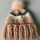 Hot Popular Chunky Hand Knitted Women's Fur Pom Hats