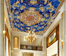 Custom size removable HD blue court floor sticker european style ceiling 3d wallpaper