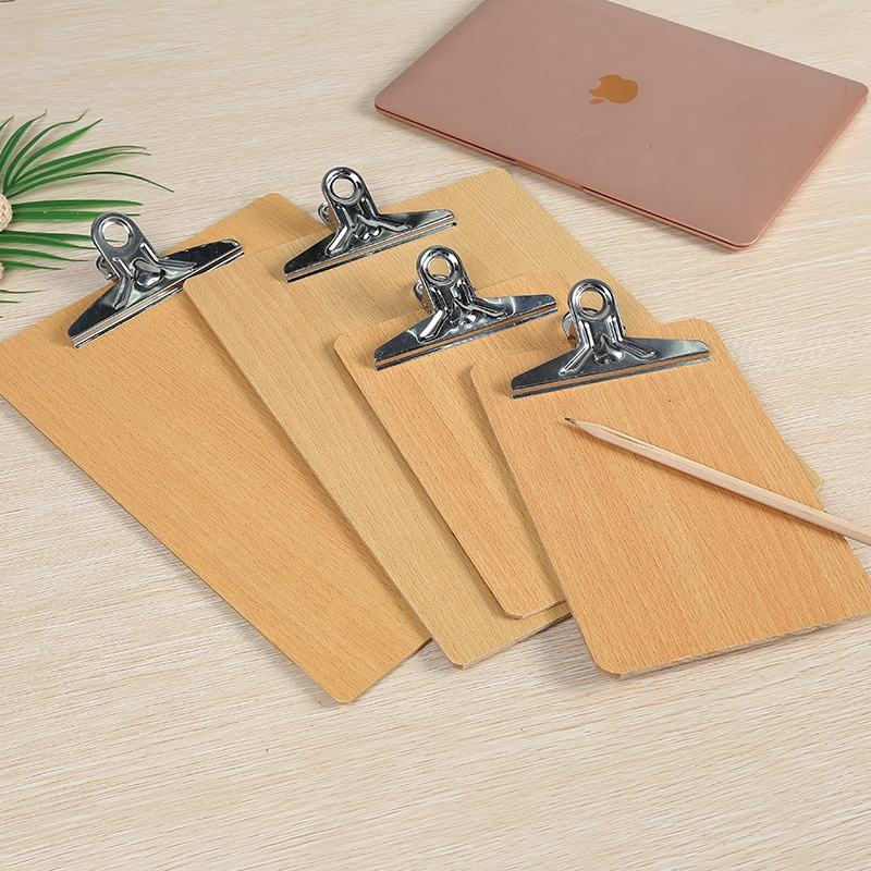 Eco-friendly Customized A4 / A5 Wood bamboo Clip hard board Simple Office File Notebook holder Menu display clip writing board