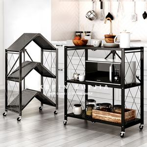 3-5 Tier Stainless Steel Adjustable Microwave Oven Shelf Rack Foldable Kitchen Storage Rack Shelf