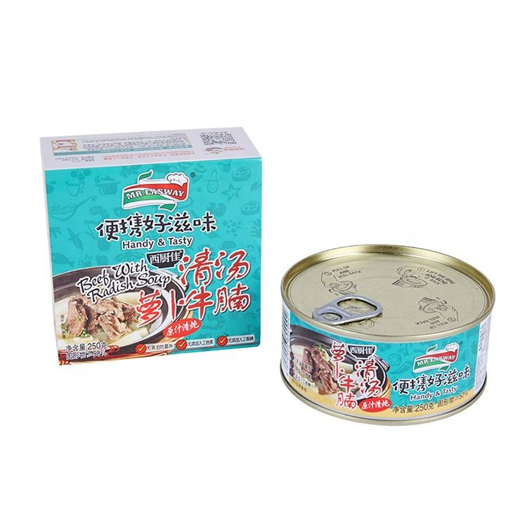 High Quality 250g Canned Pork Luncheon Meat Food Beef Brisket With Radish In Clear Soup