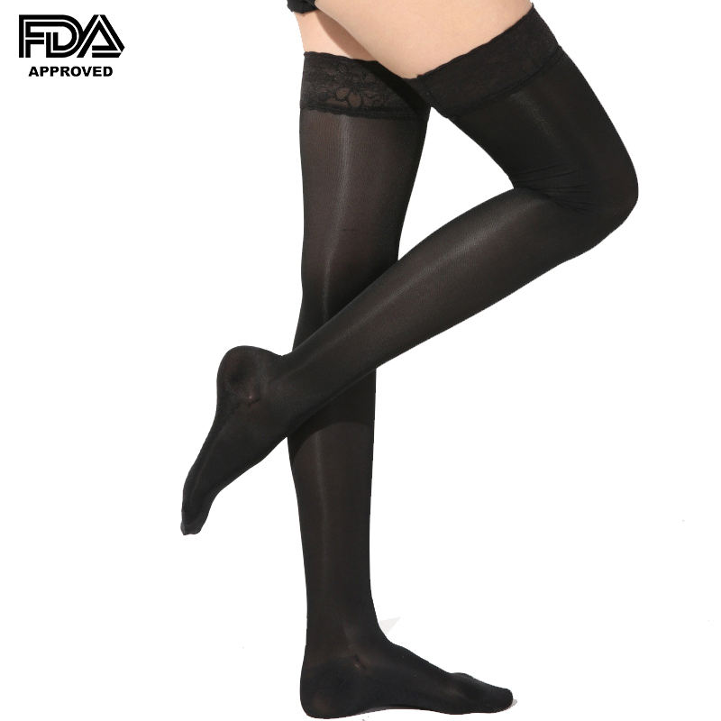 High quality lace up medical compression stockings anti embolism stockings thigh high for wholesale