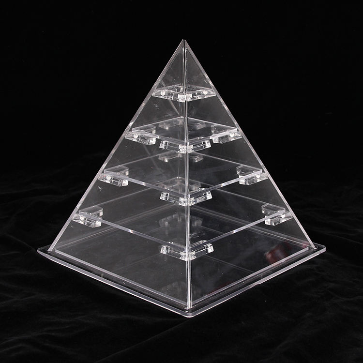 High quality wedding party pyramid shape acrylic countertop food cake display cabinet