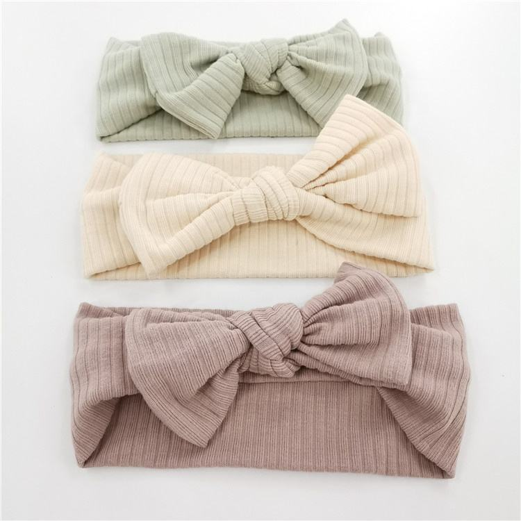 Organic Cotton Bow Knot Knitted Ribbed Baby Headband For Babies