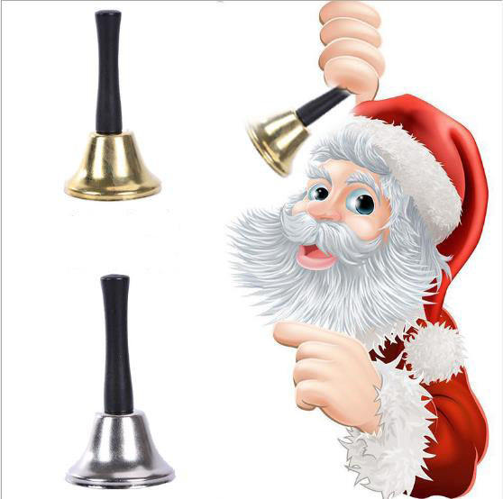 Yiwu Wholesale Cheap and Loud Christmas Chrome Plated With Plastic Handle Jingle Bell Xmas Decorations