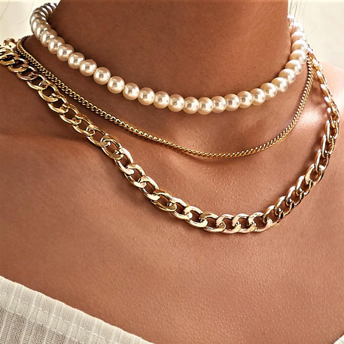 Best Friend Chunky Customised Choker 18k Gold Plated Figaro Chains Fashion Women Jewelry Layered Pearl Necklaces