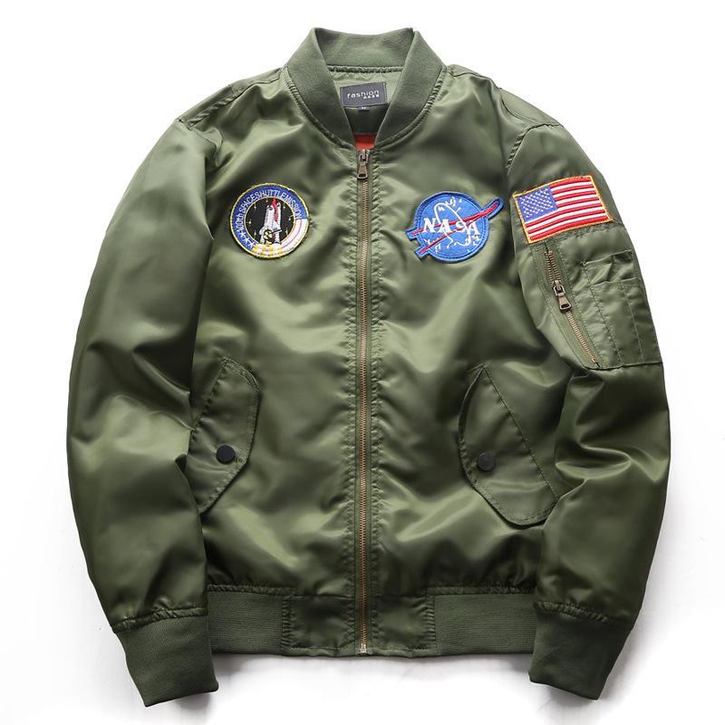 Wholesale embroidered satin mens clothing custom nasa bomber jackets