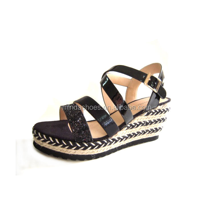 Wholesale new model comfortable Jute Sole Shoes Girls Woman Espadrille Platform sandals
