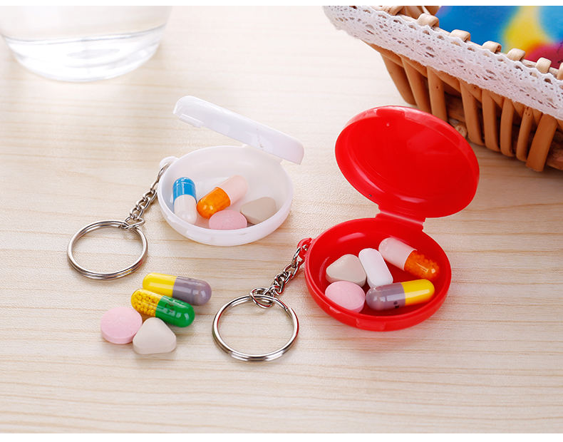 Mini pocket decorative plastic one day pill box with keyring
