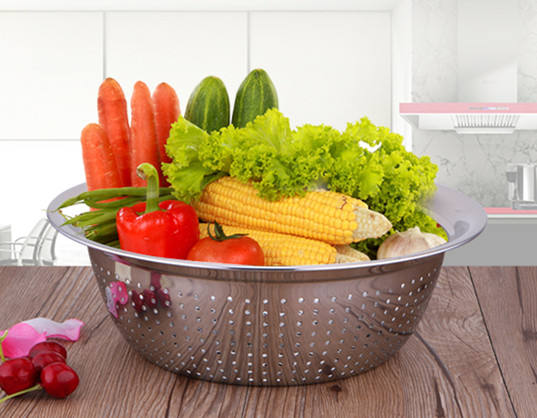 Food Grade Kitchen Perforated Strainer Mesh Colanders For Pasta Spaghetti Berry Veggies Fruits Noodles