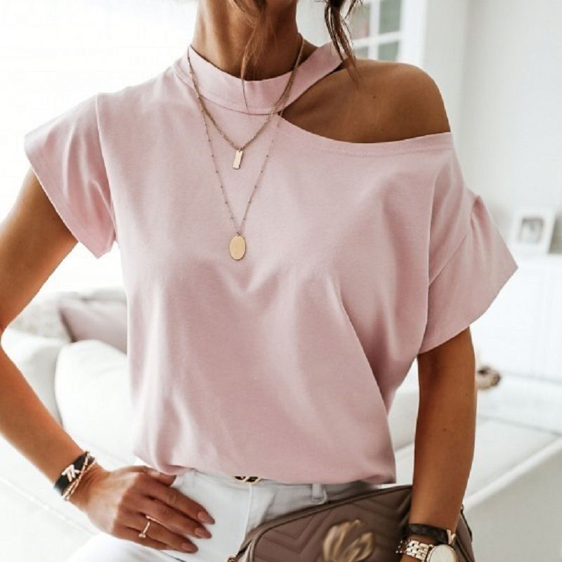Girls Tshirt Off Shoulder Short Sleeve O Neck Ladies Tshirts Halter 2020 Summer Fashion Casual Women's T-Shirts Tops Women