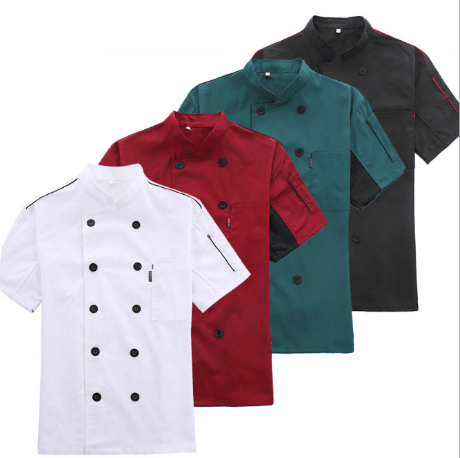 Cheap white black uniform chef coat with pocket