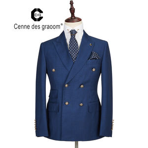 Mens Suit 2 Piece Slim Fit blue Wedding office double breasted for Cenne des graoom Lapel Blazer Trousers