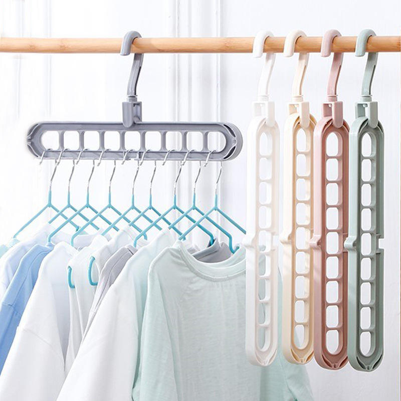 Multifunctional Space Saving 9-Hole Clothing Hanger 360 Rotating Magic Plastic Clothes Folding Hanger for Wardrobe Organizer