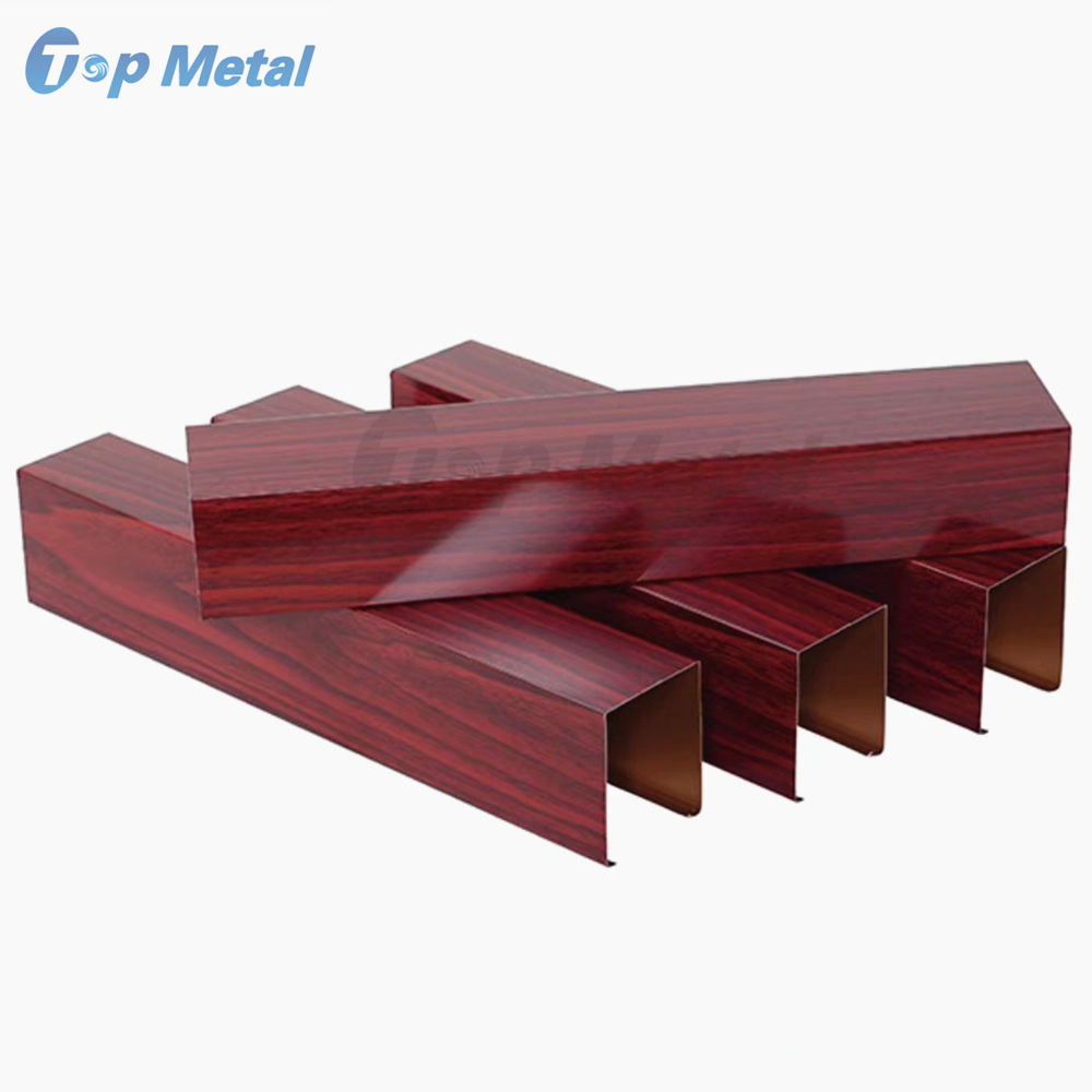 U shape Wood Grain Suspended Baffle Aluminum Ceiling for Balcony