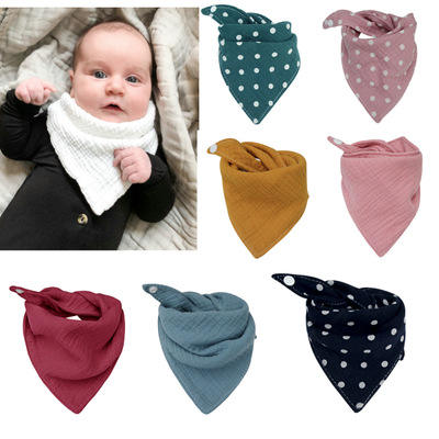 Baby Bibs Cotton Accessories Newborn Wholesale Solid Color Snap Button Soft Triangle Towel Feeding Drool Bibs