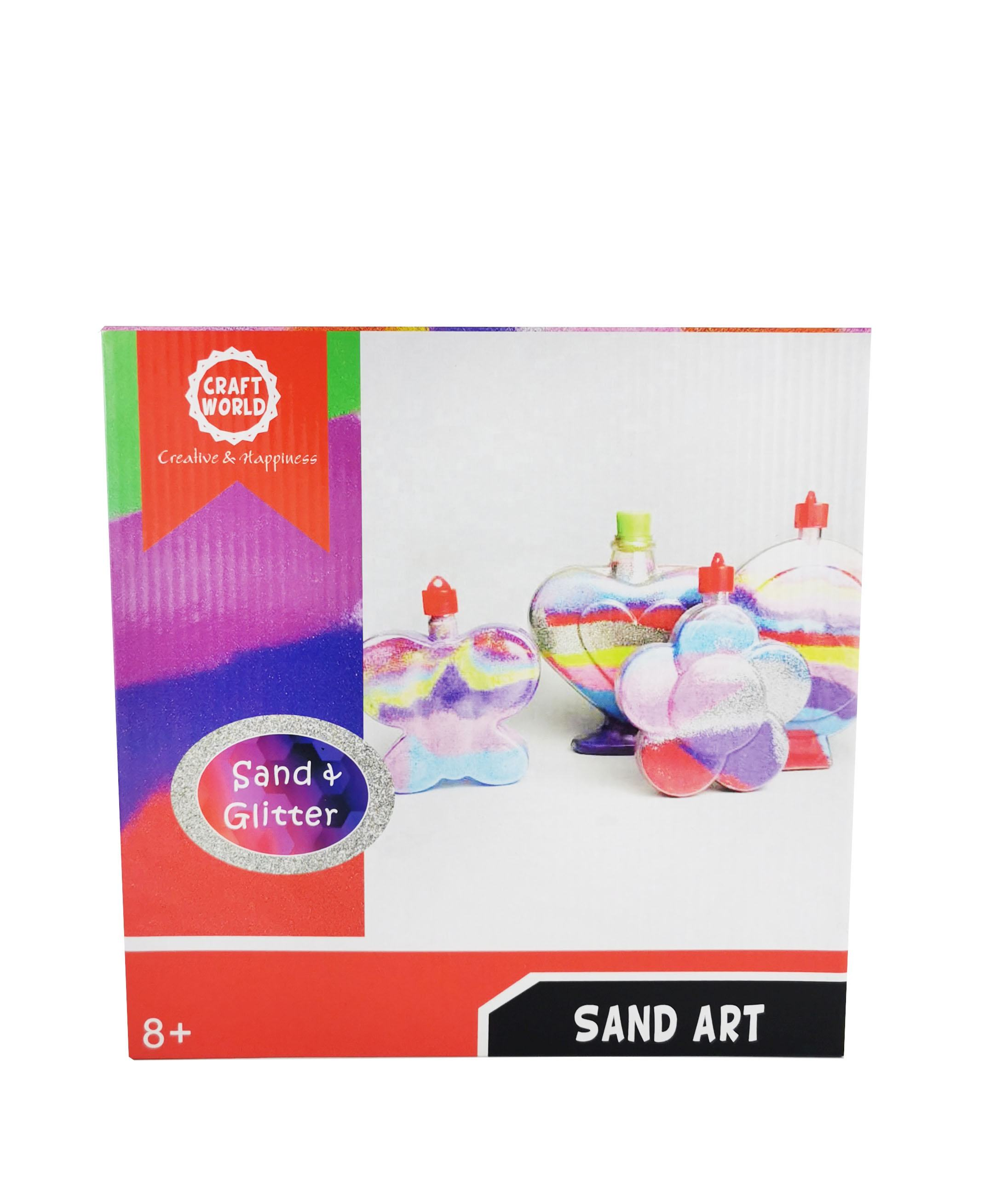 Sand Art Glitter Kit For Kids Arts Crafts Activities. Design Your Own Colorful Sand Bottle