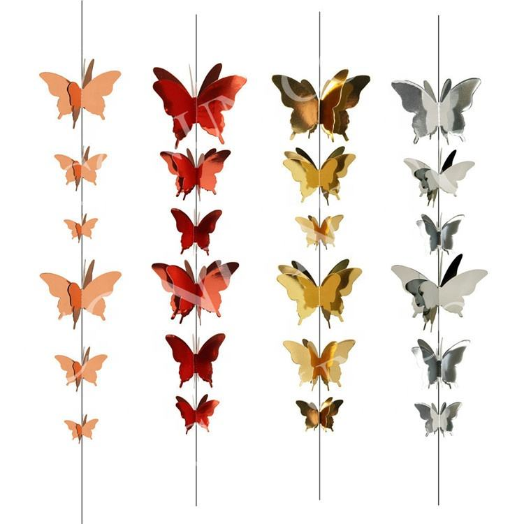 3D Butterfly Paper Garlands Christmas New Year Home Decor Kids Birthday Baby Shower Wedding Hanging Decoration 80415