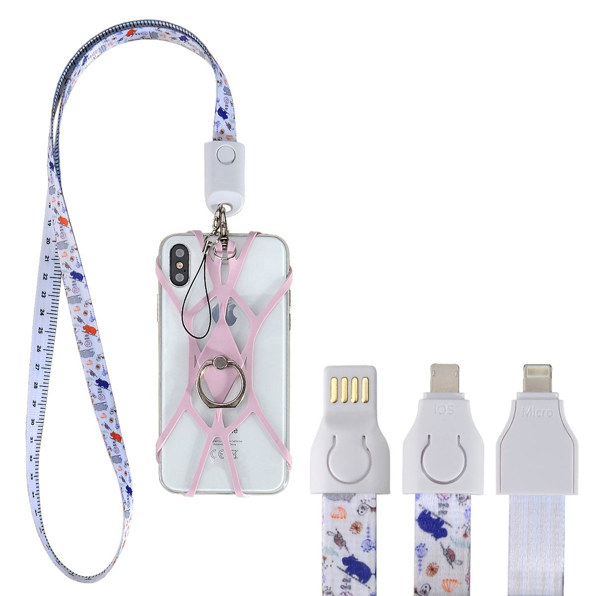 2020 new arrival USB Charging silicone Cable Neck Strap lanyard for Cell Phone