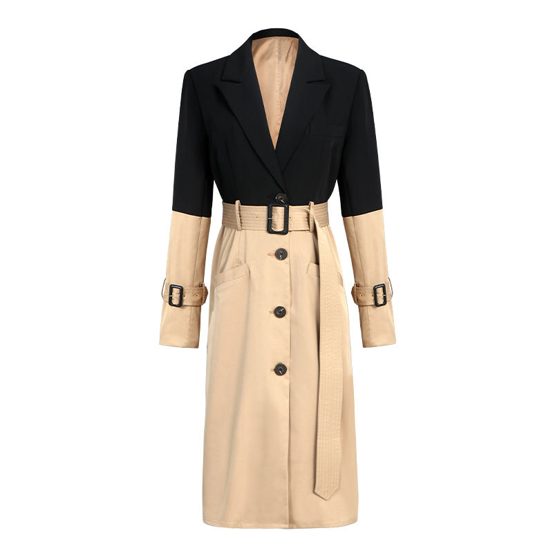Slim Fit Black and Brown Color Mixed High Waist with Belt Long Sleeves Turn Down Sexy Winter Dress Blazer Women