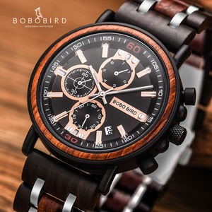 BOBO BIRD Men Top Brand Luxury Natural Steel Luminous Wood Watch in Luxury Gift Box