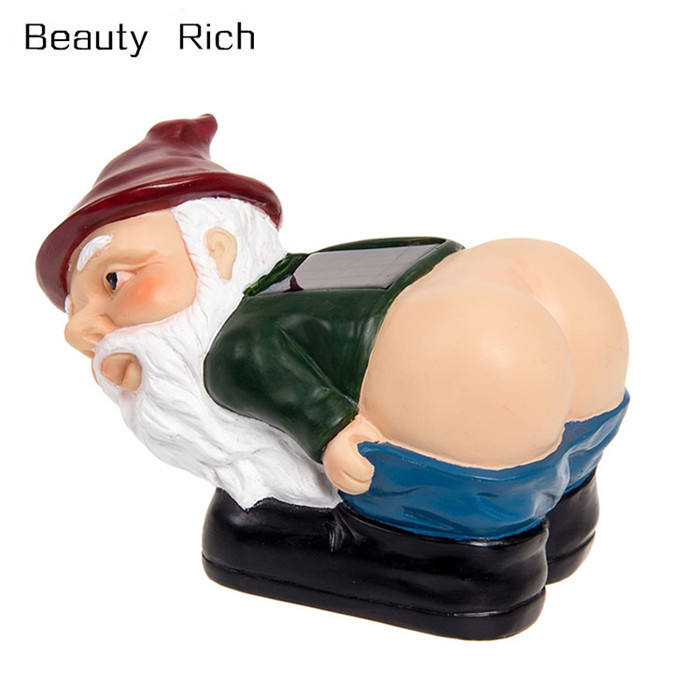 Polyresin/Hars Solar Mooning Gnome Licht Up Butt Tuin Gnome