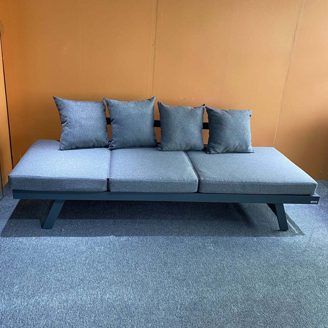 Knocked-down Full Alu One Side 4-Positon Adjustable Lounger Sofa Bed