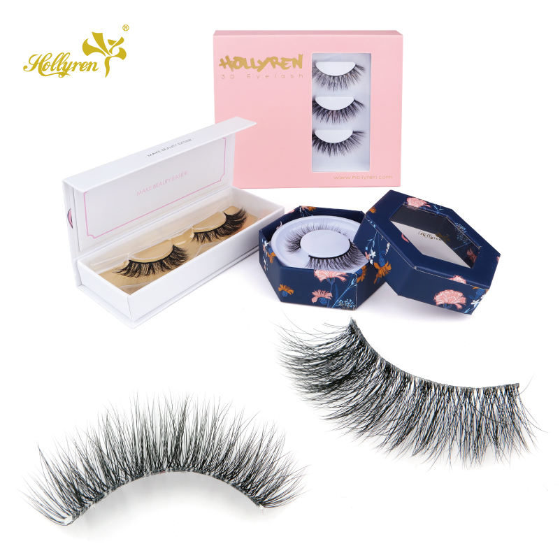 Synthetic False Korea Mink Silk Lashes Fluffy Mixed Length in Per Row Shoft Fur Soft Super Thin Band Siberian Y Eyelashes