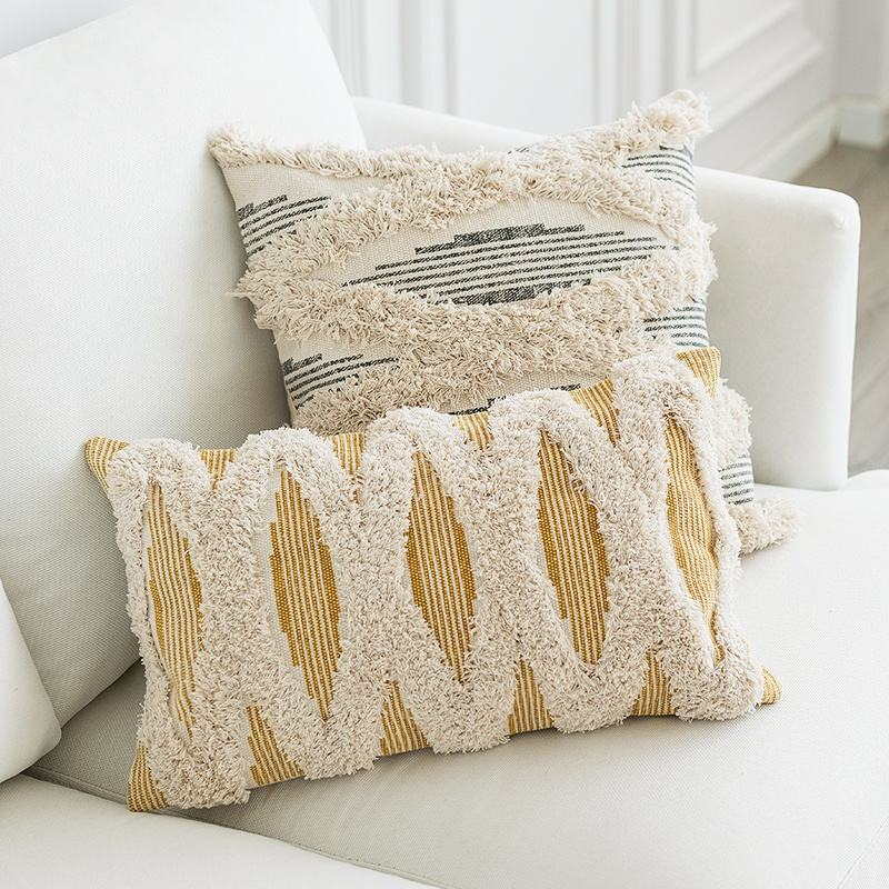 Wholesale bohemian living room decorative printed tufted fur felling Boho home sofa decor luxury cushion pillow covers