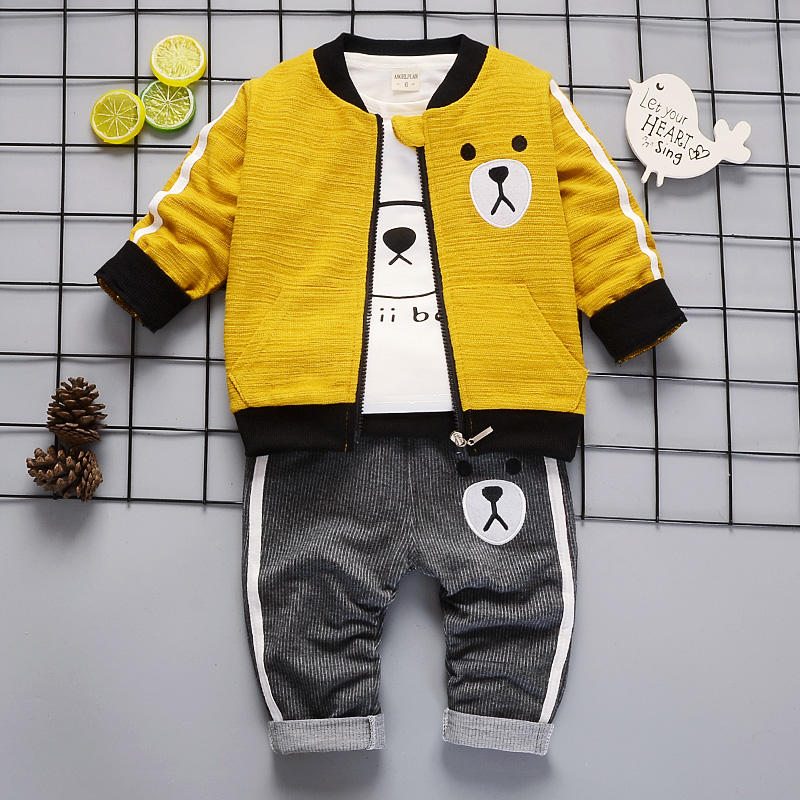 2019 fashion casual and comfortable cartoon bear print spring autumn 3 pieces kids fall set turkey wholesale children clothes