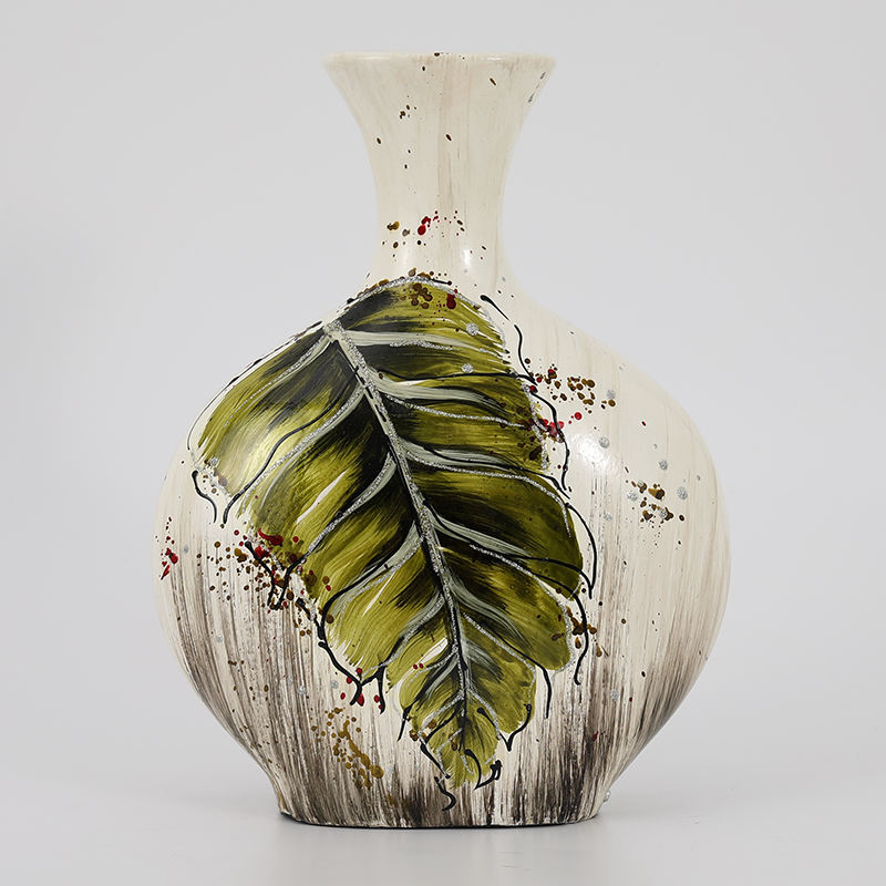 Home Decor Ceramic Vase With Hand Printing Green Leaf Design