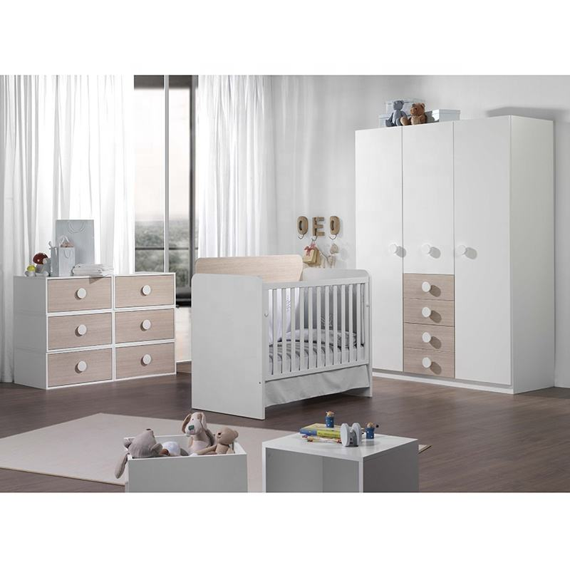 Cribs Well Designed Kids Furniture Set 20CCB036 Wood Baby Children Bed Cribs With Baby Wardrobe