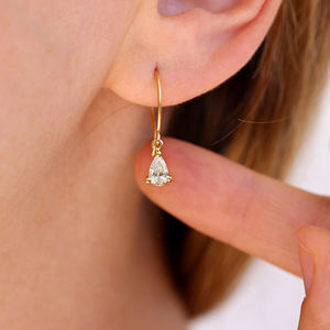 Fashion gold jewelry Shining Tear Drop Diamond Dangle hoop Earrings