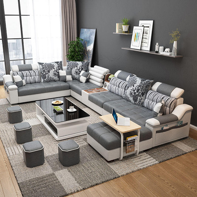 Factory wholesale customizable fabric U shaped sectional living room european 7 seater sofa set sofa designs with big cushions