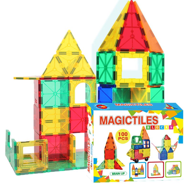 100pcs Magna tiles New design magnetic building blocks Educational STEM Toys magnetic tiles for kids