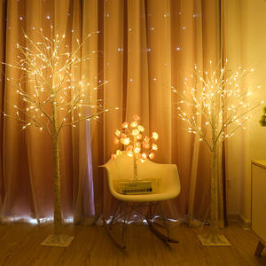 Birch tree light decoration twig branch programable solar led palm tree outdoor lighted tree