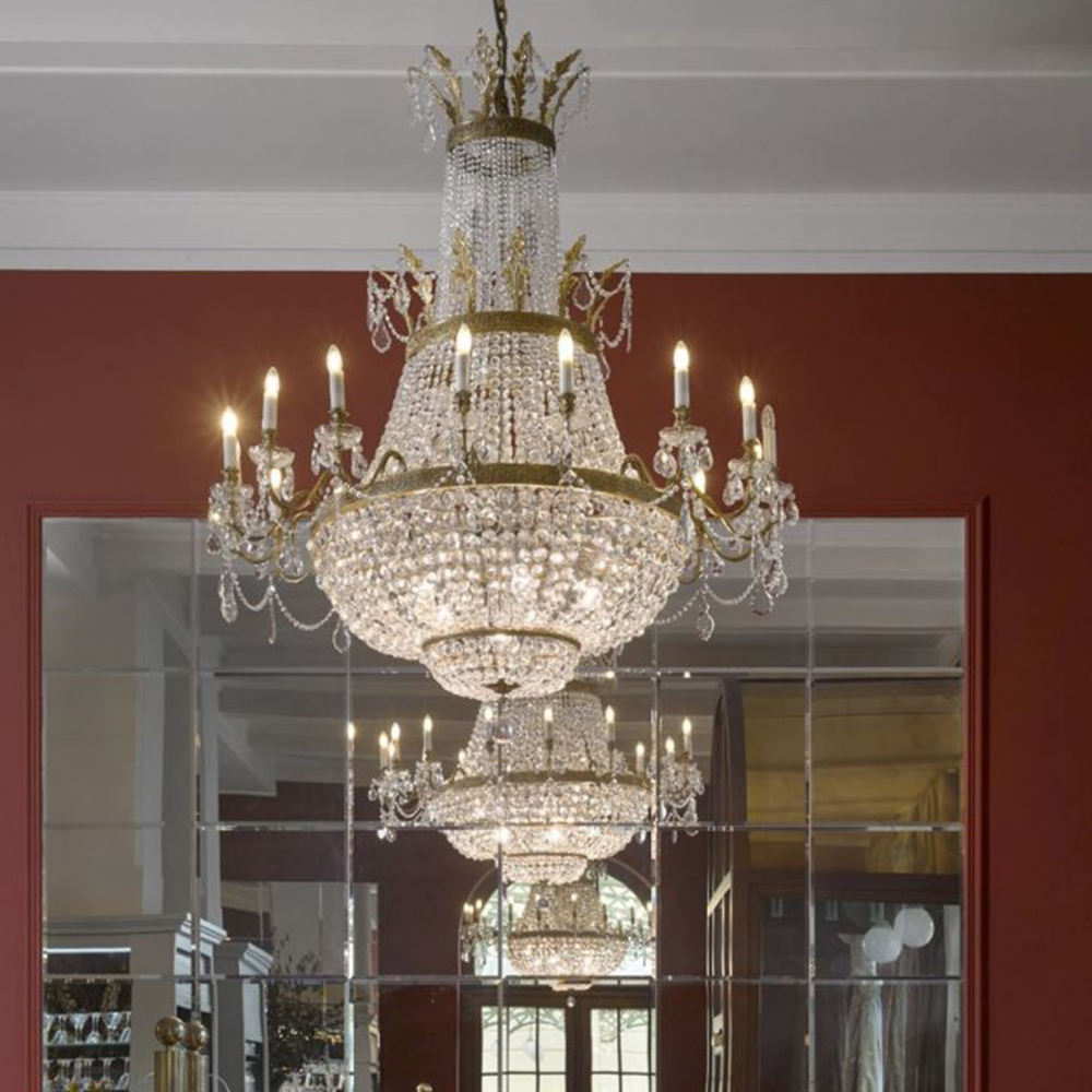 Customizable Large Luxurious Classic Design Palace Style K9 Crystal Chandelier For Villa Hotel Restaurant
